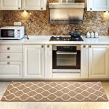 COSY HOMEER Kitchen Rug Non Slip Backing for Kitchen Floor Runner Rug with Water Absorbent Specialized in Machine Washable (Beige, 60 * 180cm)